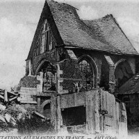 L'église en ruines pendant la Grande Guerre