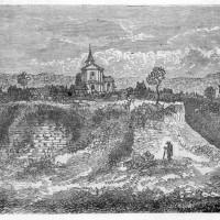 Les ruines du château et l'église au 19ème siècle.