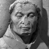 Tête du gisant de l'abbé Nicolas Corbel, mort en 1418 (1999)