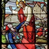 Vitrail de 1934 représentant le Christ bénissant un soldat agonisant (2007)
