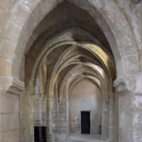 Le bas-côté nord de la nef vu vers l'ouest depuis la travée du clocher (1996)