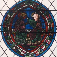 Vitrail du 13ème siècle : le couronnement de la Vierge (1997)