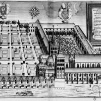 Vue de l'abbaye avant la Révolution, extraite du Monasticon Gallicanum.