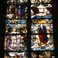 Vitrail représentant la Trinité, le Baptême dans le Jourdain, l'Assomption, sainte Hélène, le donateur et saint Nicolas, daté 1545 (1997)