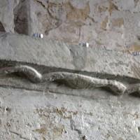 Tailloir d'une pile de la nef décoré d'un serpent (2017)