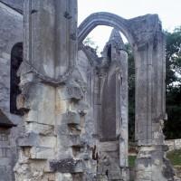 Les vestiges du transept et du choeur vus du sud-est (1995)