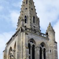 L'étage du beffroi et la flèche de la tour nord vus du nord-est (2016)