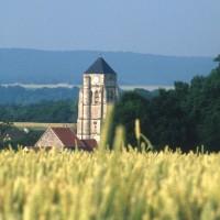 Le clocher de l'église dans son environnement vu du sud-ouest (1994)