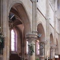 Première campagne : l'élévation nord des deux dernières travées de la nef vues vers le nord-est (2000)