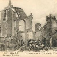 L'église en ruines à la fin de la Grande Guerre