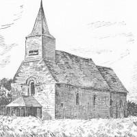 L'église avant sa destruction durant la Grande Guerre, d'après Camille Encart