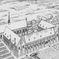 Vue cavalière de l'abbaye telle qu'elle se présentait au 14ème siècle (hors-texte de l'article de Léon FAUTRAT, « L'Abbaye du Moncel », Comité archéologique de Senlis, Comptes-rendus et Mémoires, 1891).