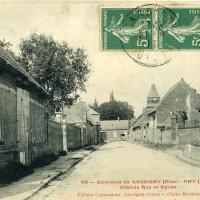 La Grand rue et l'église en 1911