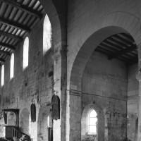 Vue partielle du croisillon et du mur gouttereau nord de la nef vers le nord-ouest
