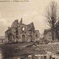Les ruines de l'église en 1918