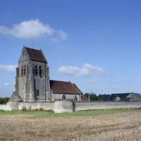 Vue générale de l'église et de l'enceinte fortifiée depuis le sud-ouest (2007)