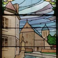 Vitrail de 1934 représentant l'ancienne église (2007)