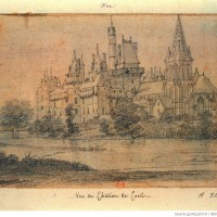 L'église et le château au 18ème siècle, vus du sud-est (Gallica - Collection Destailleur)