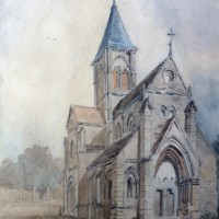 Aquarelle du 19ème siècle représentant l'église avant sa reconstruction