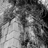 Partie supérieure des contreforts plats romans à l'angle sud-ouest de la nef (1970)