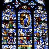Vitrail du 16ème siècle de l'Arbre de Jessé à la seconde chapelle nord du choeur (2016)