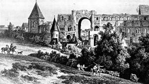 Les ruines de l'abbaye de Saint-Lucien au début du 19ème siècle (Lithographie de Deroy d'après un dessin d'A. Van den Bergue)