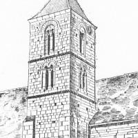 Le clocher roman de l'église détruite durant la Guerre 14-18 (d'après Camille Enlart)
