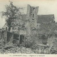 L'ancienne église en ruines durant la Guerre 14-18