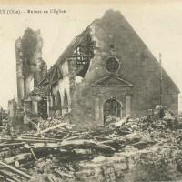 L'ancien église en ruines durant la Guerre 14-18