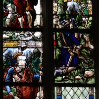 Fenêtre sud du choeur : saint Jean Baptiste; saint Jacques; conversion de saint Eustache (2016)