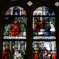 Fenêtre nord du choeur : Nativité; scènes de la Vie de saint Aubin (2016)