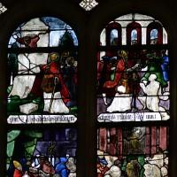 Fenêtre nord du choeur : Baptême du Christ; scènes de la Vie de saint Aubin (2016)