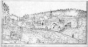 L'abbaye au 17ème siècle, dessin anonyme réalisé au 19ème siècle d'après un panneau peint par Quentin Varin en 1650 (Bulletin du GEMOB n° 69, 1995, p. 37)